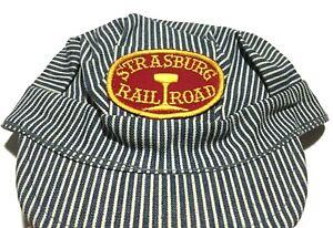 Vintage Railroad Engineer Hat Hickory Stripe Denim Strasburg Railroad Size 6 XS