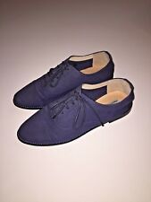MARAIS USA NAVY BLUE CANVAS LACE UP CLASSIC OXFORD FLAT SHOES 10