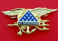 US Navy SEAL Special Warfare Team Trident Insignia IN MEMORIAM GOLD Badge Pin