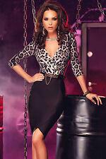 Abito aperto aderente nudo stampato scollo Midi print Leopard dress clubwear L