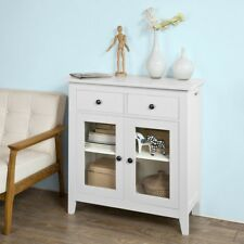 SoBuy® Home Wood Storage Cupboard Cabinet With 2 Glassed Doors,White,FSB05-W,UK