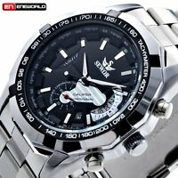 Men Self-Winding Date Automatic Mechanical Stainless Steel Sport Wrist Watch New