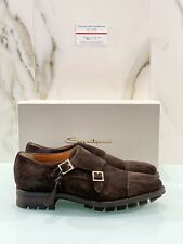 Santoni Uomo Doppia Fibbia In Suede Brown Goodyear Welted Luxury 43