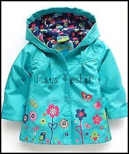 GIRLS BLUE RAIN COAT MAC SPRING SUMMER JACKET HOOD WINDBREAKER FLOWER 18m - 6yrs