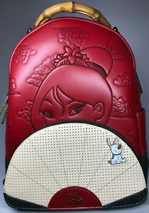 LOUNGEFLY Disney Mulan Fan Pin Collector Mini Backpack NEW! With Tags
