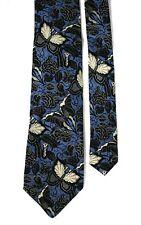 63dc1d45078617 Gianfranco Ferre Floral Butterfly Pattern Blue Silk Tie 9 cm