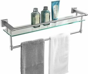 JQK Bathroom Glass Shelf, Stainless Steel Large Towel Rack with 24 Inch Bar