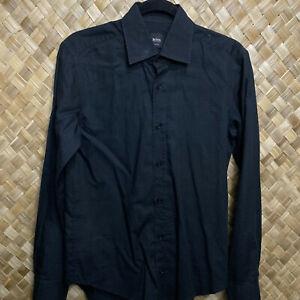 Hugo Boss Small Slim Fit Black Polka Dot Mens Button Up Long Sleeve Shirt
