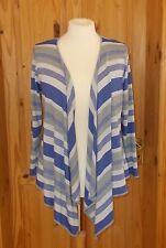 PER UNA lavendar blue-purple grey stripe waterfall 3/4 sleeve cardigan top 16 44