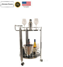 Cart Tier Trolley Serving Utility Wine Bottle Bar Tempered Glass Chrome Frame