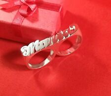 Two Finger Name Ring  Personalized Sterling Silver Any Name* USA Seller Newyork*