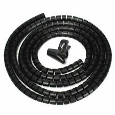 Black 2 Mtr CABLE TIDY KIT PC TV Wire Organising Wrap Tool Spiral Office Home