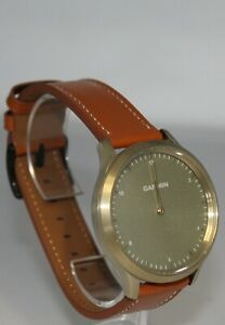 Garmin Vivomove HR Hybrid Smart Watch Gold Tone with Light Brown Leather Band