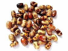 100pcs 12mm x 8mm WOODEN EXOTIC Barrel Oval Beads ASSORTED MIXED Patterned Wood