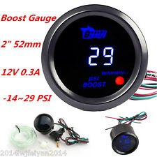 "2"" 52mm Black Cover Car Auto Digital Blue LED PSI Vacuum Turbo Boost Gauge Meter"