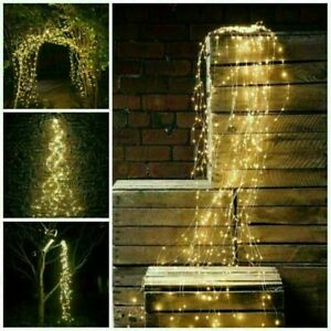 UK LED Icicle Waterfall String Fairy Lights Outdoor Garden Hanging Lamps Decor