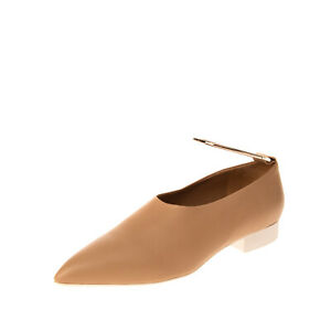 RRP €660 JIL SANDER Leather Ankle Cuff Flat Shoes EU 38 UK 5 US 7 Made in Italy