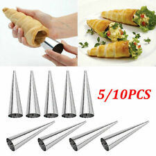 5/10x Stainless Steel Pastry Cream Horn Molds Set Conical Cone Mould Baking Tool