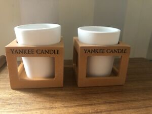 Set of 2 Rustic-Modern Terracotta Votive Yankee Candle holders