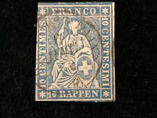 Schweiz Helvetia ab 1854 - Sitzende Helvetia (sog. Strubel) 10 Rappen     Nr.12