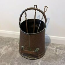 Antique Copper Coal Scuttle Fireside Accessory Set with Brush Poker Shovel