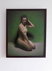 Original Framed Oil Painting Female Girl brunette woman nude Realist artwork art