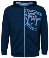Tennessee Titans NFL Mens Majestic Coverage Sack Full Zip Hoodie Navy Big Sizes