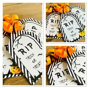 5 X Personalised Halloween Trick Or Treat Label Gift tags Party Bag Tags sweets