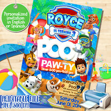 printable PAW PATROL invitation, Paw-ty, Pool party, Birthday Invitation! Digita