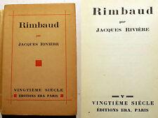 RIMBAUD/JACQUES RIVIERE/COLL 20EME SIECLE/ED KRA/1930/EO/EX DE PRESSE