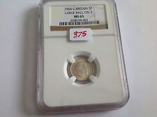 1904 Great Britain 3P Large Ball On 3 NGC MS 65