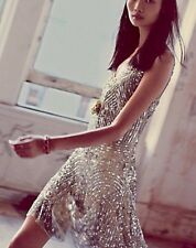 Free people Shimmy Shimmy Sequin Tie Shoulder Mini Dress 20s Flapper Embellished