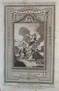 1770 Samson's Birth Foretold, Judges Biblical Antique Copperplate Print