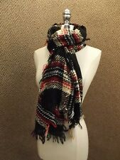 NEW NWT Steve Madden Micro Sequined Plaid Blanket Fringed Wrap Shawl Scarf 26x76