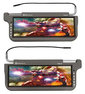 "(2) Rockville RPSV12-GR 12.1"" Grey/Gray Car Sun Visor Monitors/High Definition!"