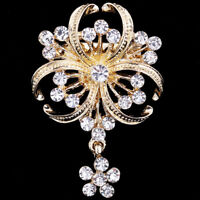 Fashion Imitation Pearl Crystal Gold Tone Pin Brooch Wedding Party Jewelry LD