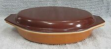 Pyrex Glass Gold Bottom w Brown Lid 1 Quart Divided Oval Casserole 063 FREE S/H