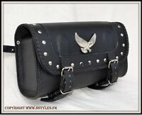 sac trousse a outil sacoche de fourche Cuir Rectangulaire ( moto custom harley )
