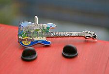 Hard Rock Cafe San Francisco Guitar Lapel Pin Pinback Silver Tone Metal
