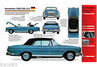 1969/1970/1971 Mercedes-Benz 280 SE SPEC SHEET/Brochure, 280SE