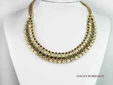 QUALITY FASHION GOLD SHINING CRYSTAL STUD STATEMENT NECKLACE COLLAR WOMENS PARTY