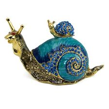 """Bejeweled Enameled Pewter Snail & Baby Trinket Box With Crystals 3.5"""" Long New!"""