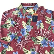 Tommy Bahama Camp Shirt Floral Fireworks Cherry T313769 100 Silk Large L