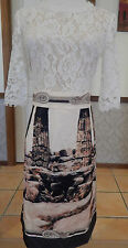 "Gorgeous ""Roman Column Dress"" Ivory Lace / Satin - AUS Size 10 - BNWT"