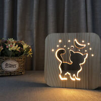 1PC Table Lamp Wooden Hollow Cute Cat Shape LED Light for Study Room Living Room