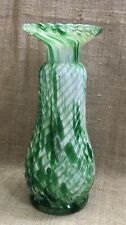 STUNNING MURANO ITALIAN ART GLASS SCALLOPED RIM SPATTER GLASS VASE GREEN VINTAGE