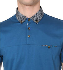 Men's Authentic Ted Baker HAZDEB Geometric Collar Mid Blue Polo Shirt Size 2 -S