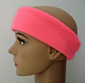 Headband NEON FLUORESCENT PPE BRIGHT PINK fleece ear sweat warmer running muffs
