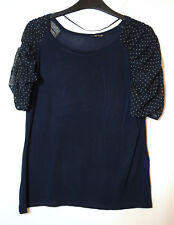 NAVY BLUE LADIES CASUAL TOP BLOUSE SIZE 12 ATMOSPHERE STRETCH JERSEY