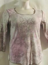 ONE WORLD~Ivory Lilac Purple~ Embellished Floral Paisley ~Soft Knit Top~ M~EUC